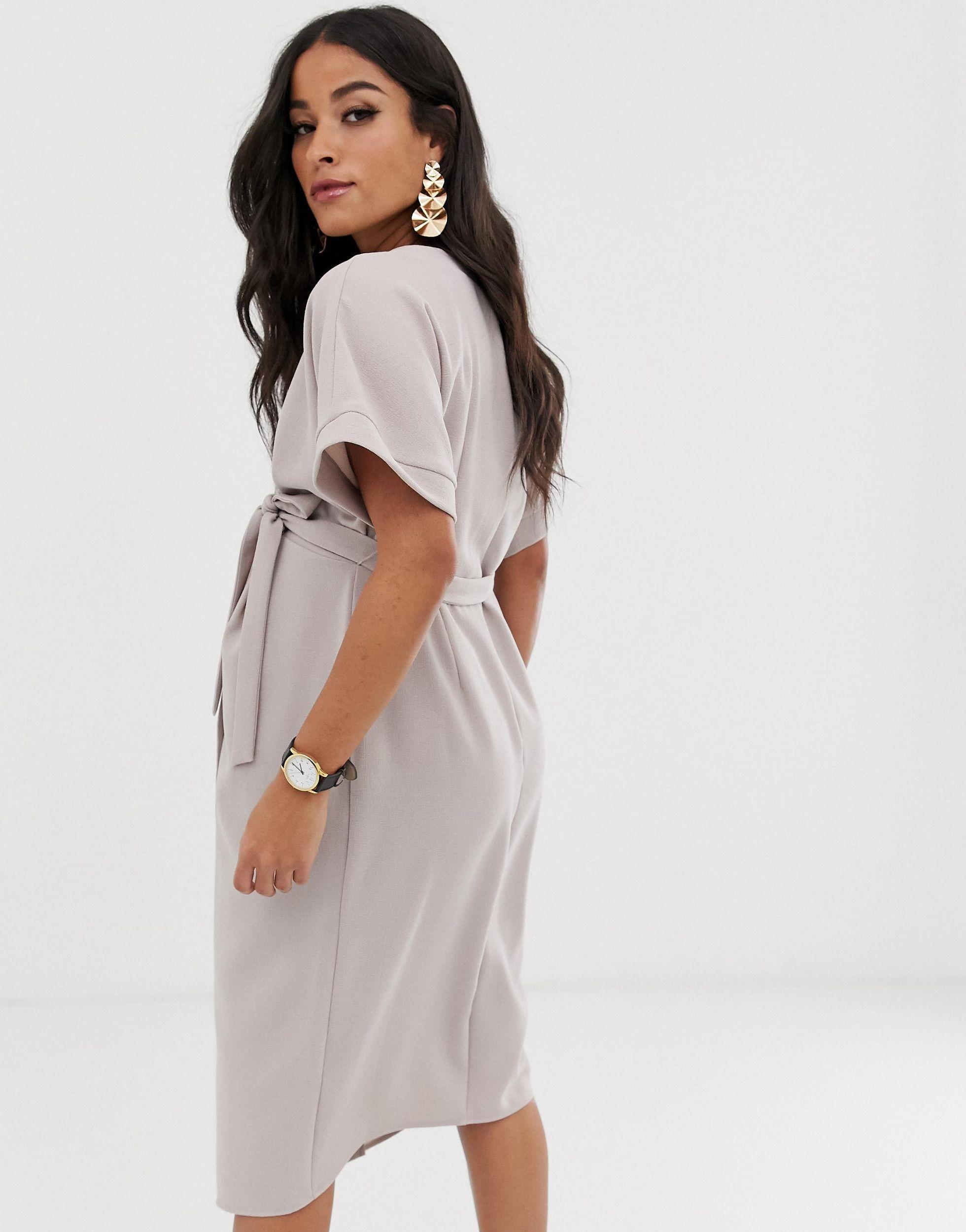 Vestido midi con diseño cruzado ASOS de Tejido sintético