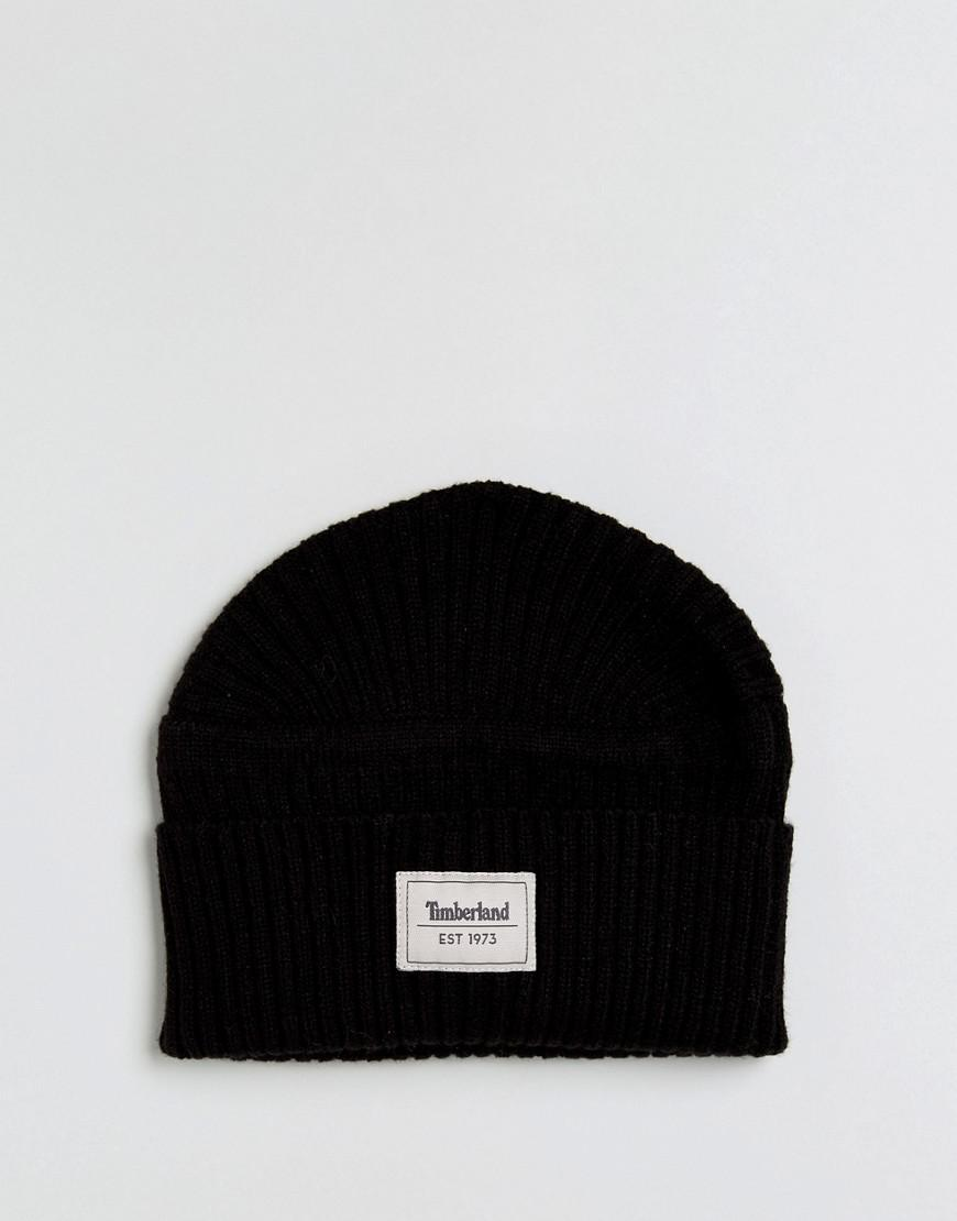 9c293b3723a Lyst - Timberland Gulf Beach Ribbed Beanie Label Logo In Black in ...