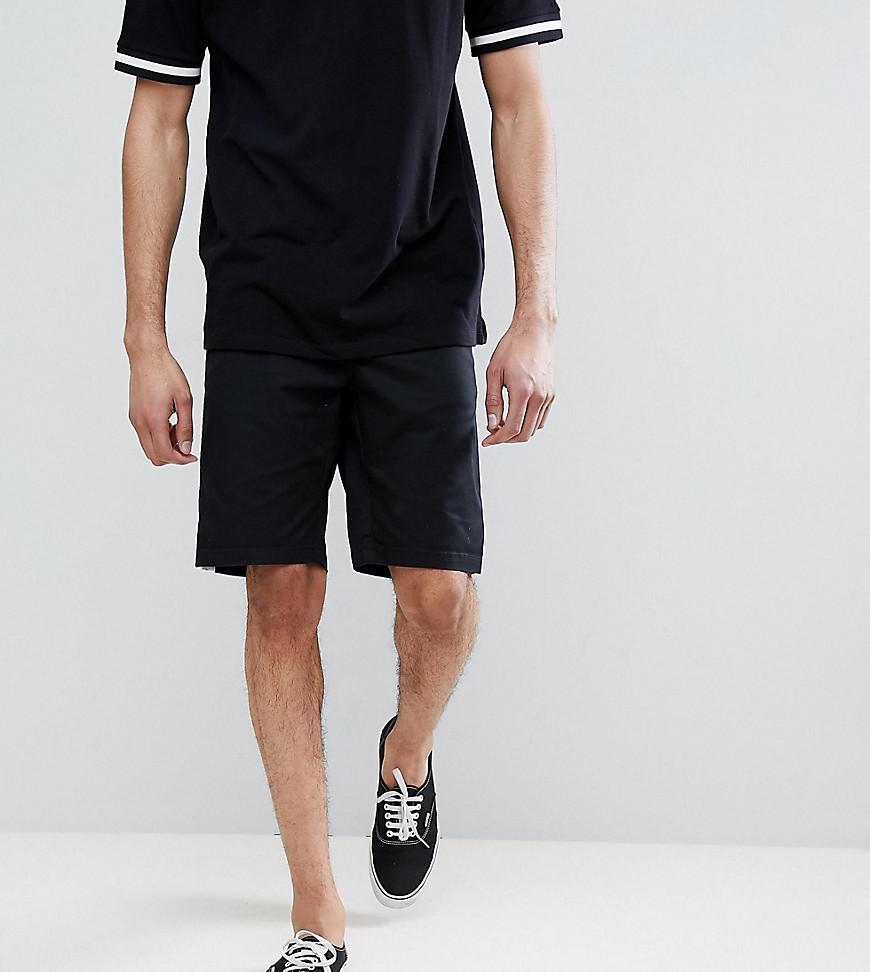 DESIGN Tall Slim Shorts In Black With White Side Stripe - Black Asos