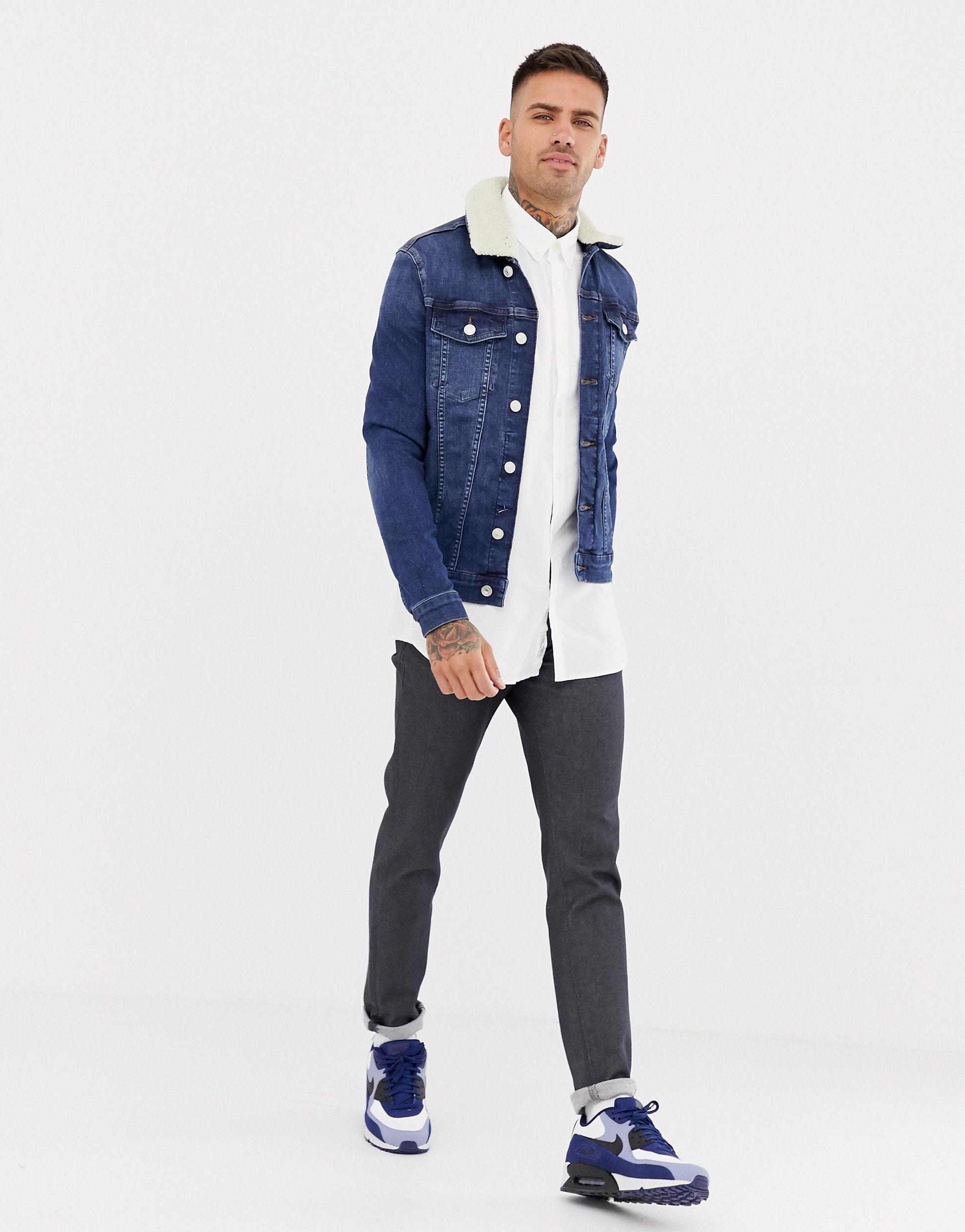 River Island Denim Slim-fit Oxford Overhemd in het Wit voor heren