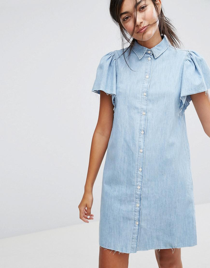 78e9d43b69fc Lyst - Bershka Button Front Denim Dress in Blue