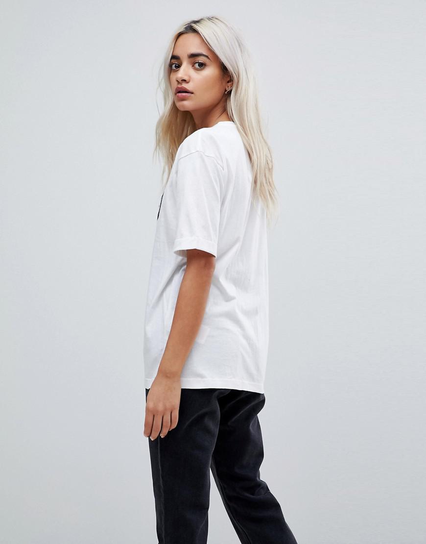 Lyst noisy may petite slogan t shirt in white for Petite white tee shirt