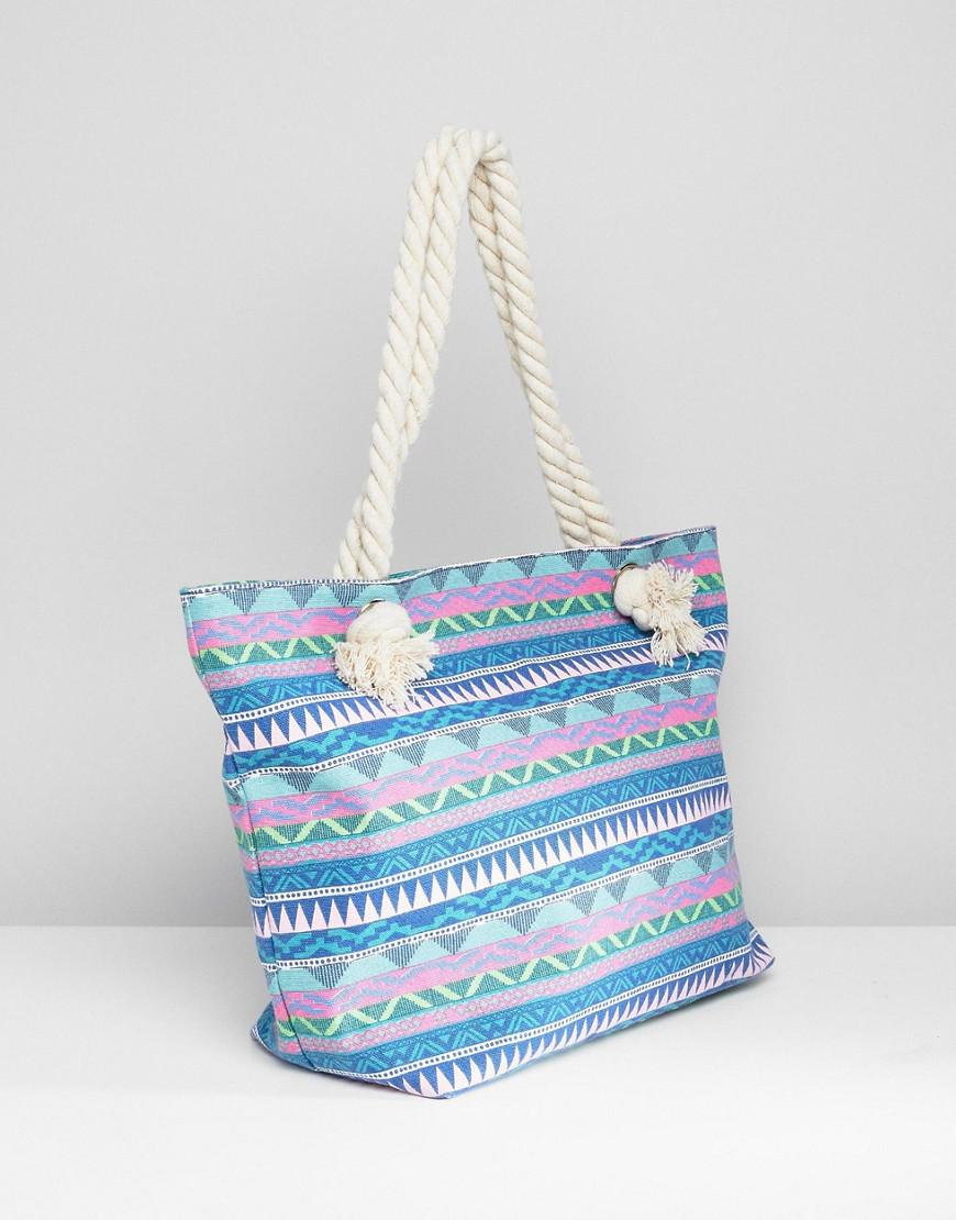 South Beach Blue Geo Print Canvas Tote With Knotted Rope Handles