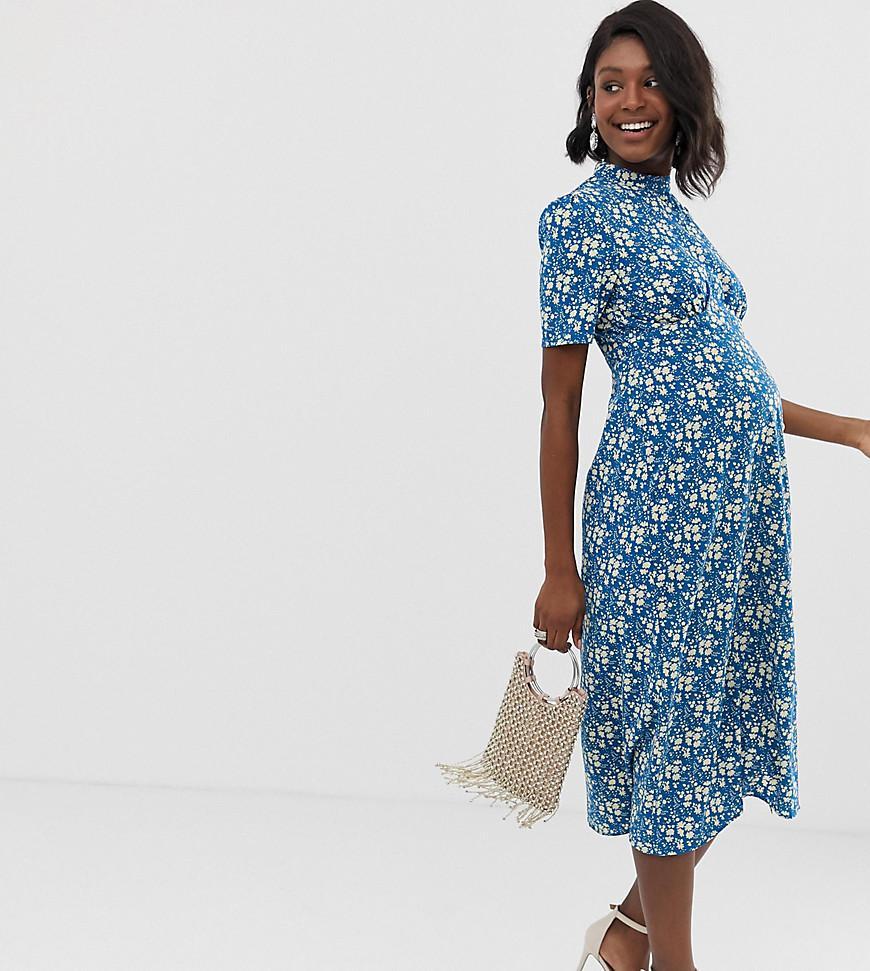10535851e6d3d ASOS. Women's Blue Asos Design Maternity Midi Tea Dress With Buttons In  Floral Print