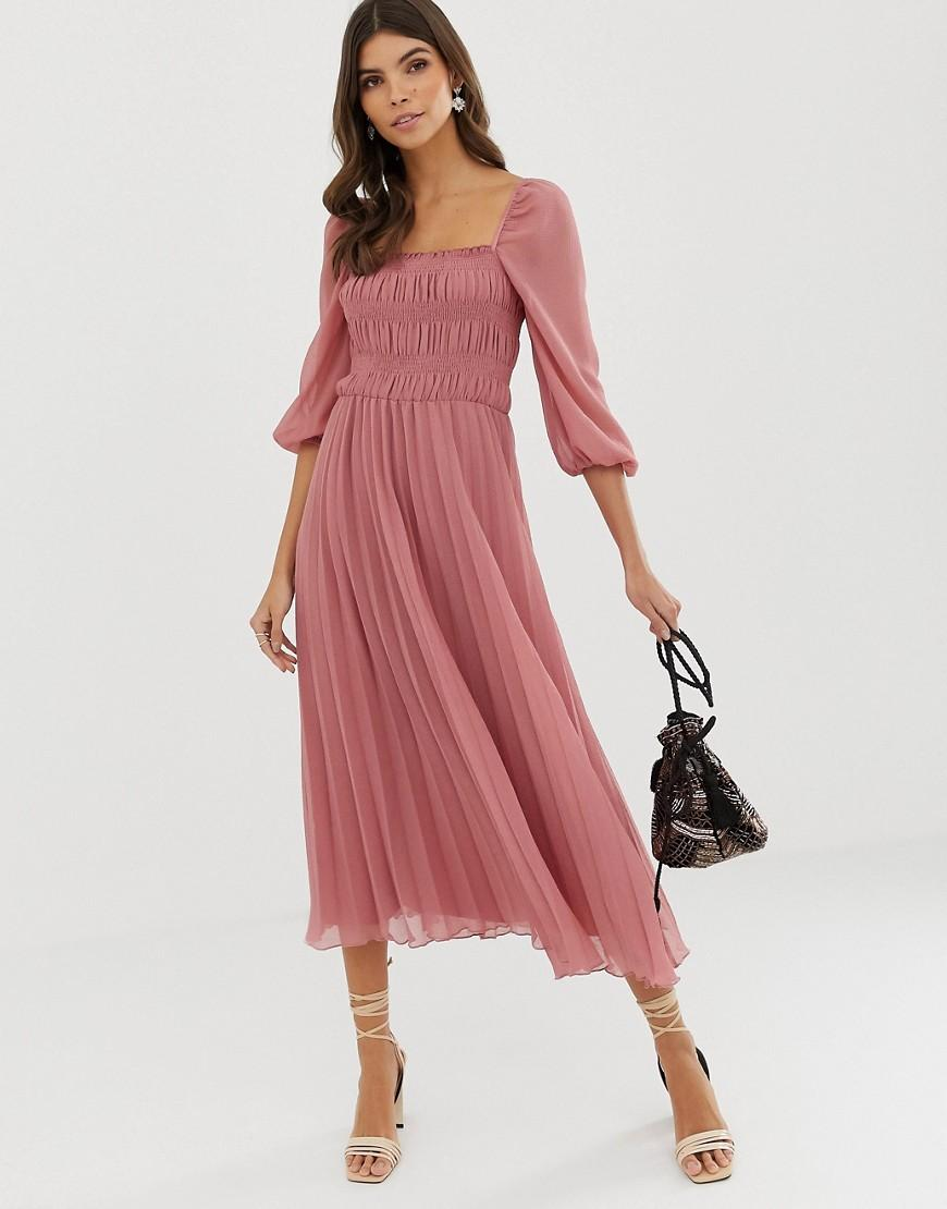 e8bc8efcd8f0 Lyst - ASOS Shirred Pleated Midi Dress in Pink