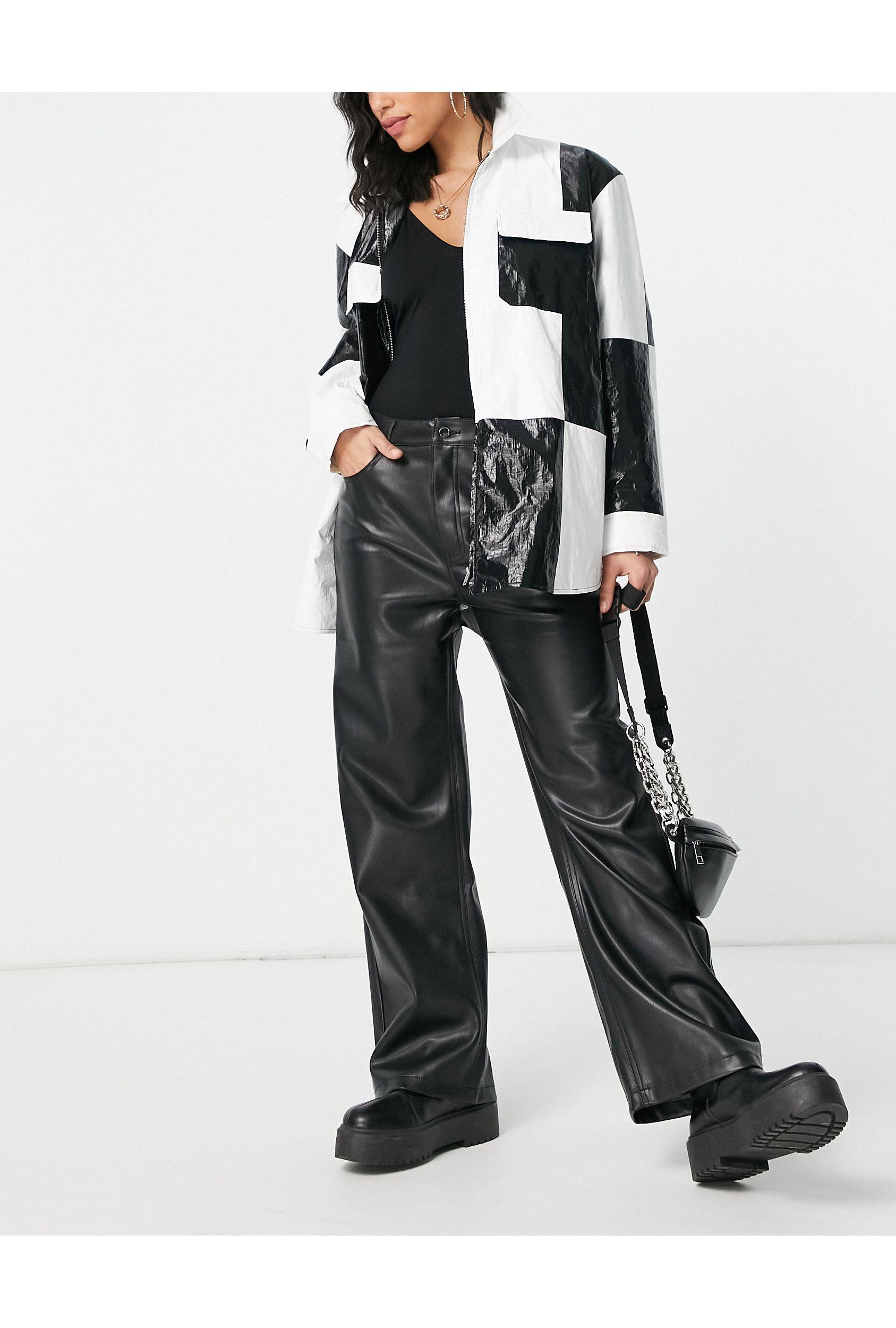 NA KD Faux Leather Kick Flare Trousers in Black   Lyst