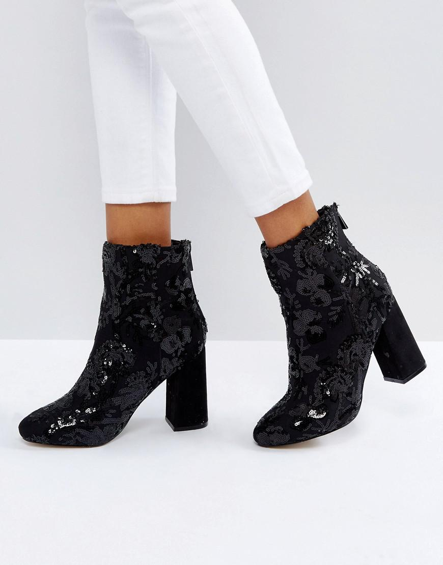 Floral Sequin Embellished Heeled Ankle Boot - Black New Look MmEpf