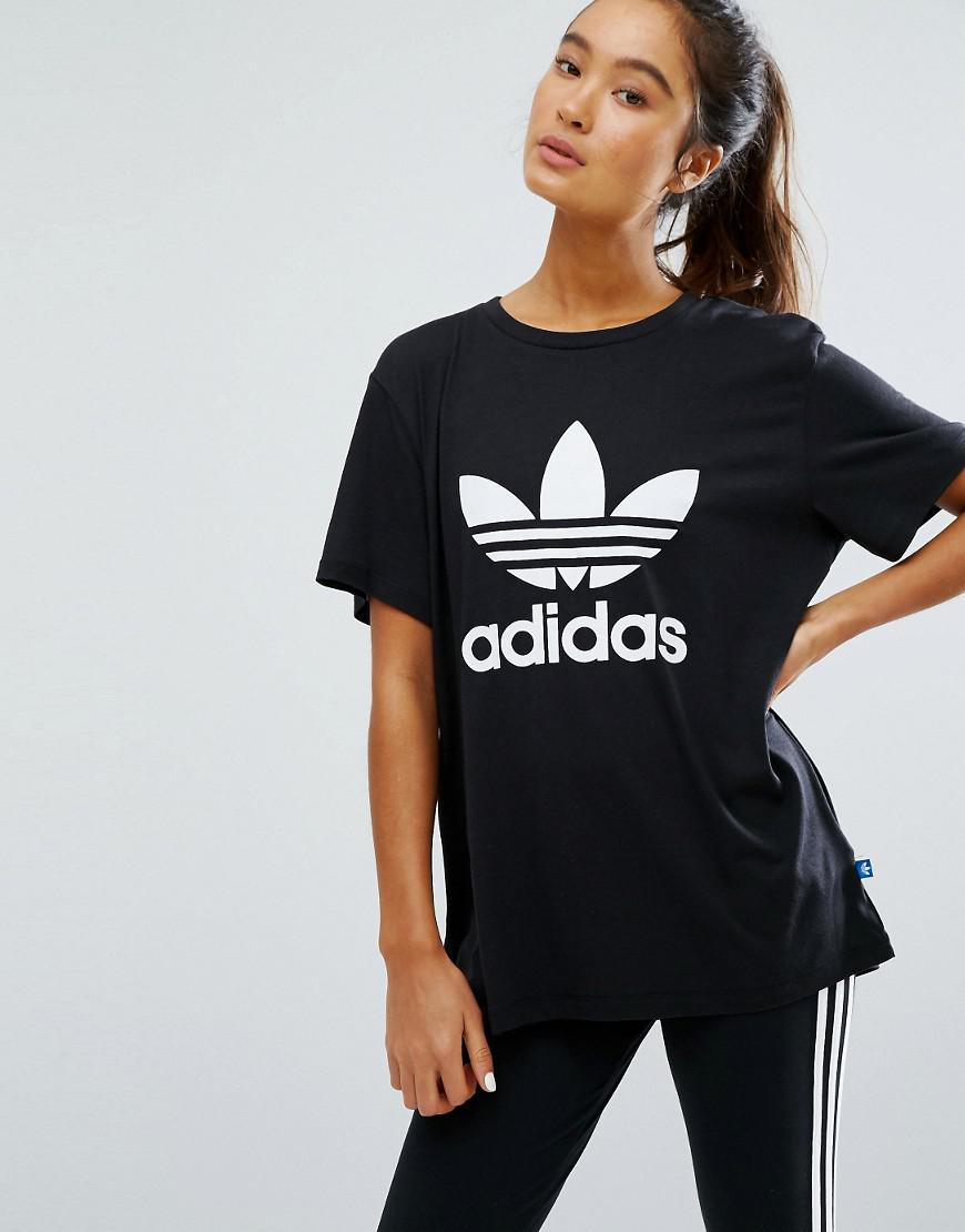 Logo Adidas Adicolour With Shirt Originals Trefoil T Oversized White c35ARjqS4L