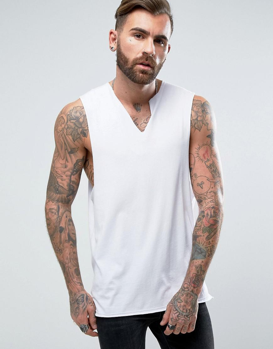 6bebd31bb43ee Lyst - ASOS Longline Sleeveless T-shirt With Dropped Armhole And Cut ...