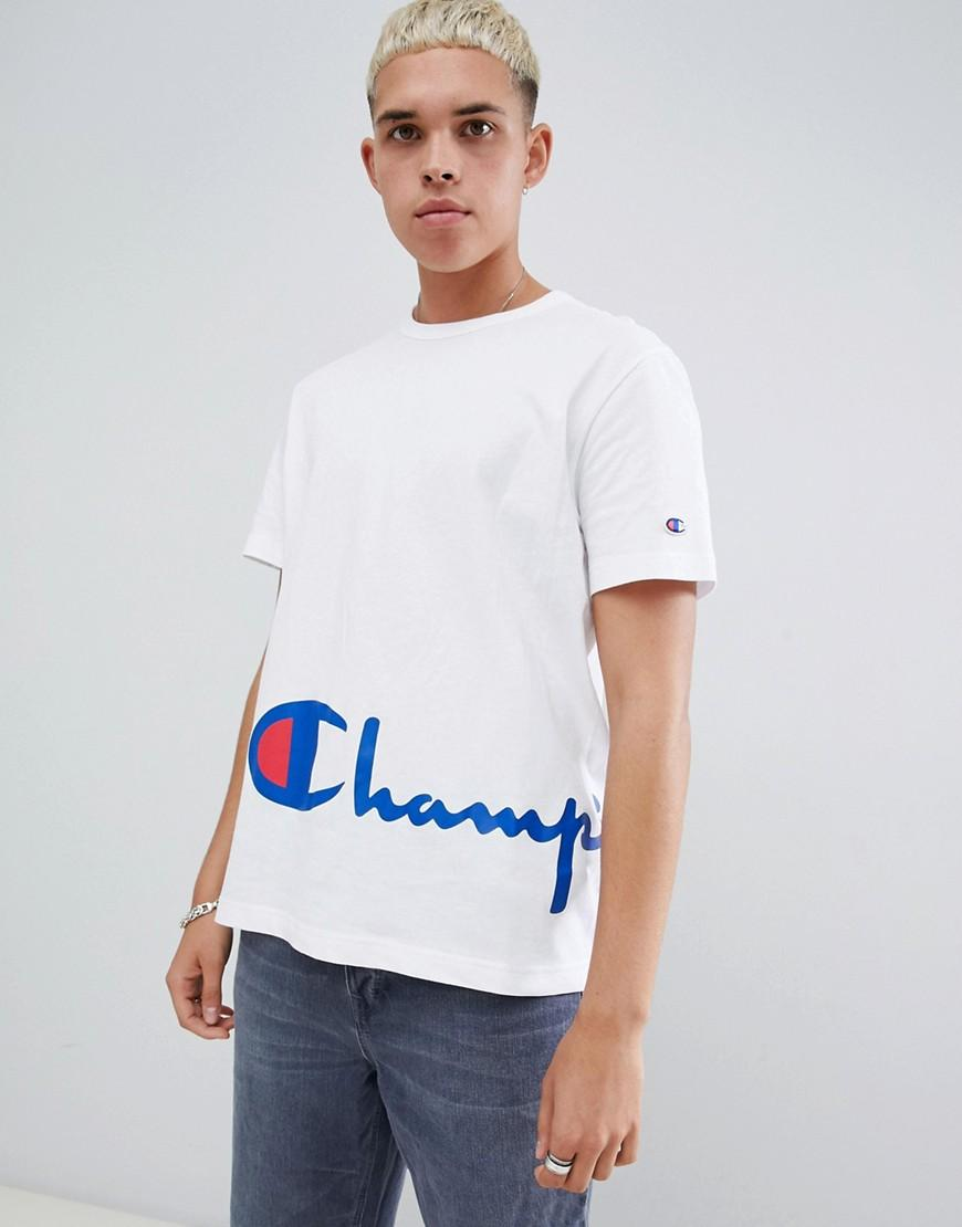8afcd8267 Champion Reverse Weave T-shirt With Large Script Hem Logo In White ...
