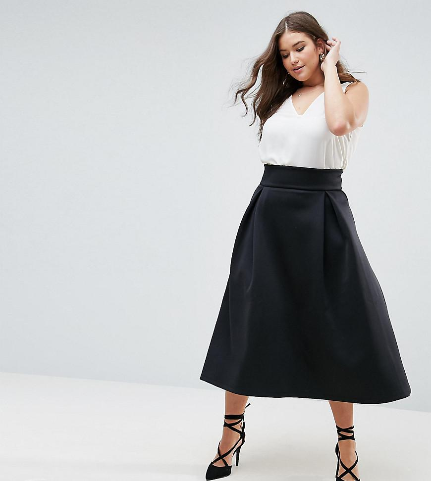 2a71ac50fd Lyst - ASOS High Waisted Scuba Midaxi Prom Skirt in Black