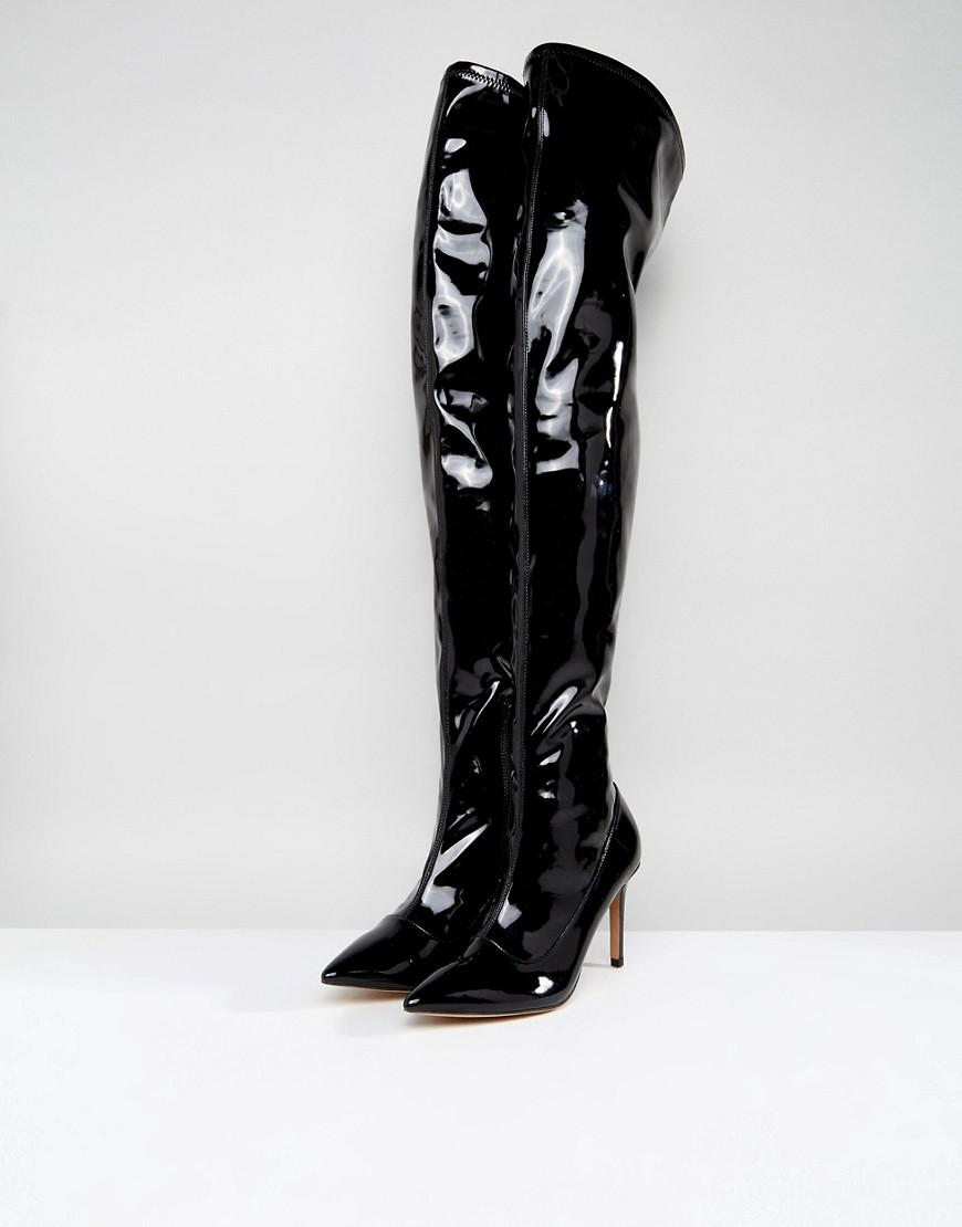 ASOS Denim Kindy Point Over The Knee Boots in Black