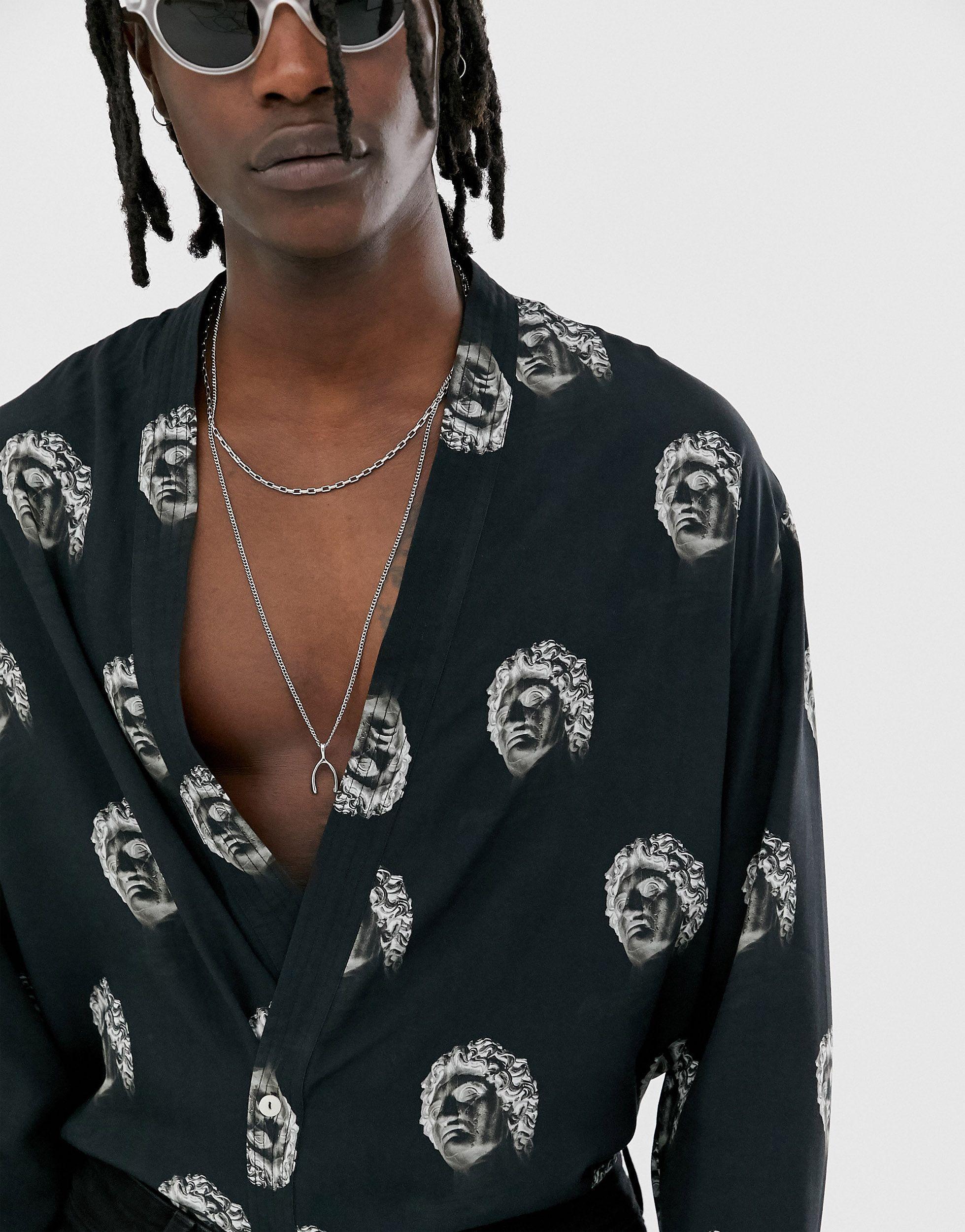 Heart & Dagger Denim Kimono-overhemd Met Print in het Roze voor heren