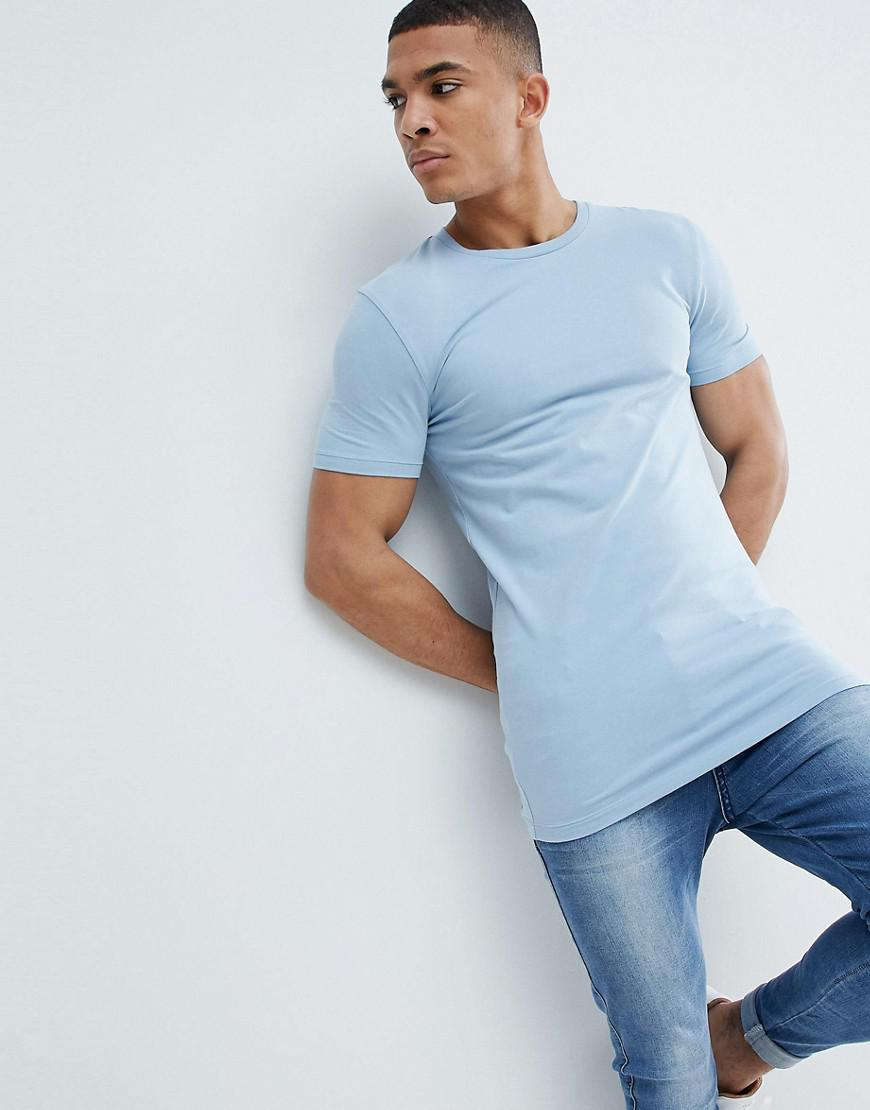 Asos Design Longline Muscle Fit T Shirt With Crew Neck And