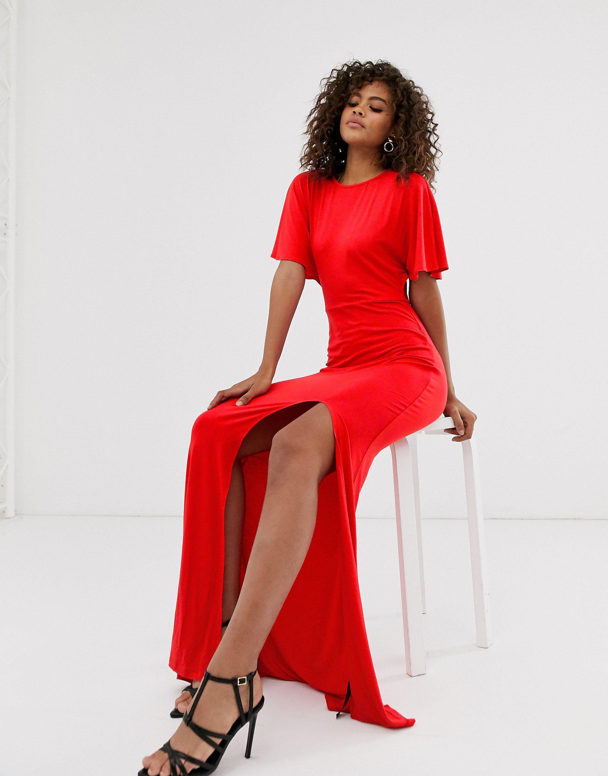 ASOS DESIGN Tall - Robe longue dos nu à manches évasées avec fente sur la cuisse Synthétique ASOS en coloris Rouge