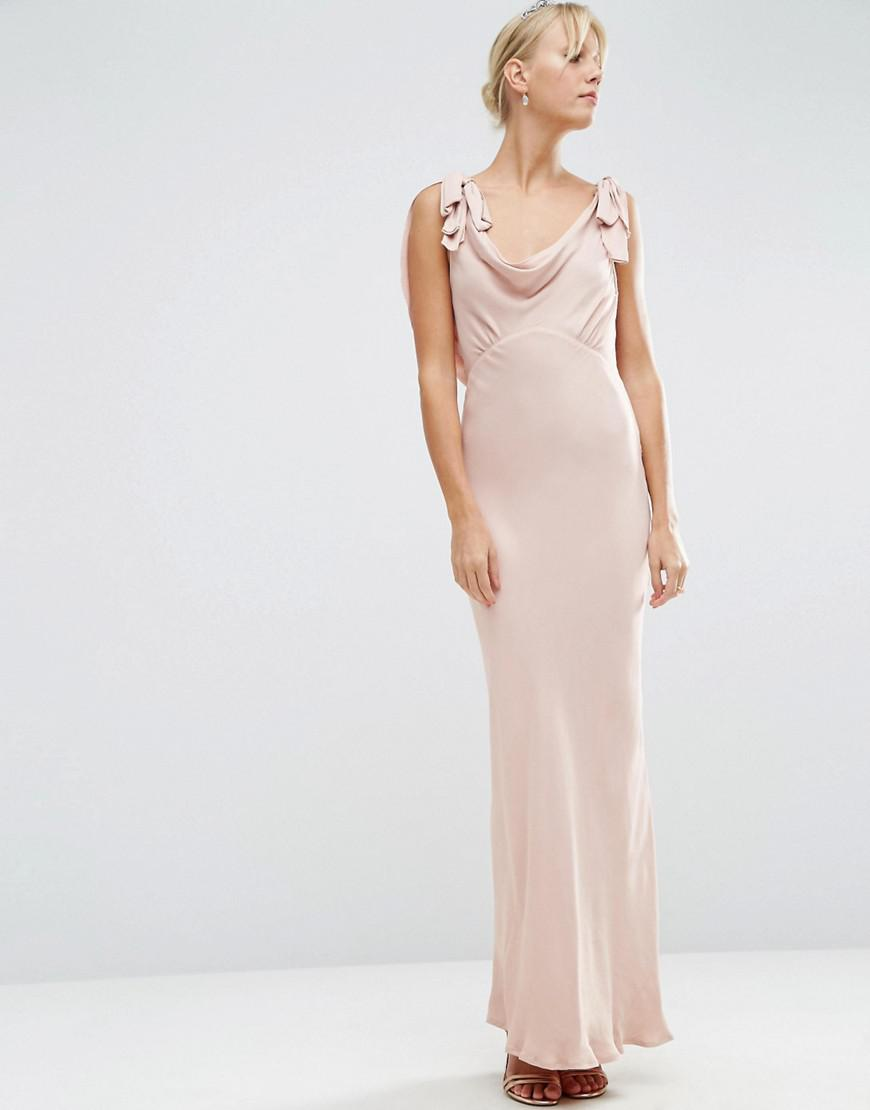 Lyst asos design bridesmaid bias cut satin maxi dress in pink asos womens pink design bridesmaid bias cut satin maxi dress ombrellifo Image collections