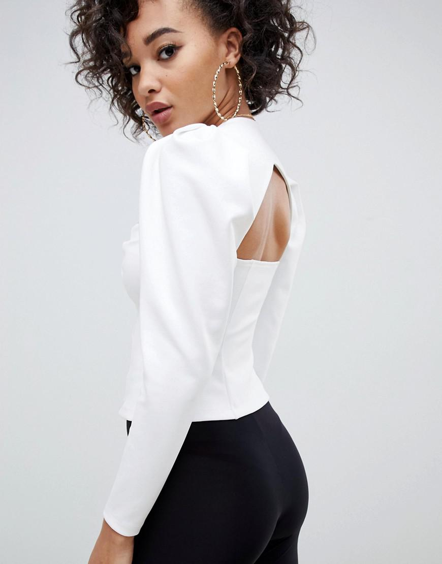 7557cfb9a2 Lyst - ASOS Sweetheart Neck Top With Puff Sleeve And Gold Button Detail in  White