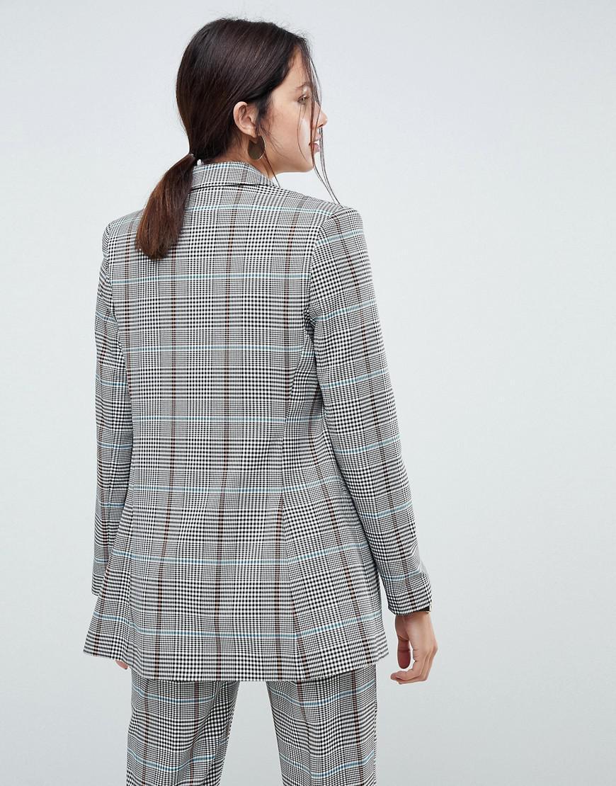 17f669907b1700 Blazer slim long carreaux colors ASOS en coloris Gray