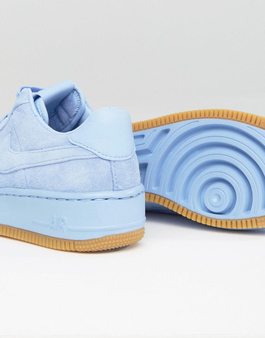 77b2d17593 Nike Air Force 1 Upstep Premium Trainers In Blue Suede in Blue - Lyst