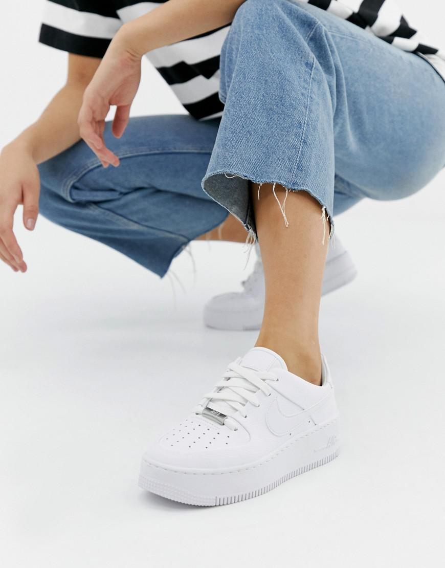 new styles 51db8 121f9 Nike White Air Force 1 Sage Trainers in White - Lyst