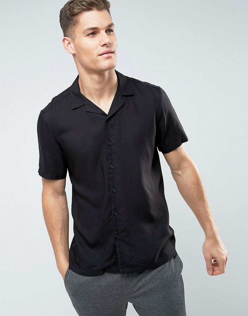 ASOS Synthetic Regular Fit Viscose Shirt With Back Print And Revere Collar in Black for Men