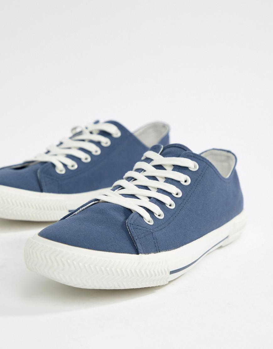 e9eac0082e6 Asos Lace Up Plimsolls In Blue Canvas in Blue for Men - Lyst