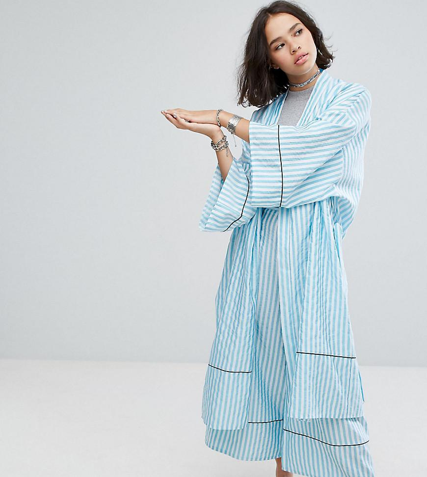 7cbfb87b856f Reclaimed (vintage) Inspired Striped Longline Kimono With Piping ...