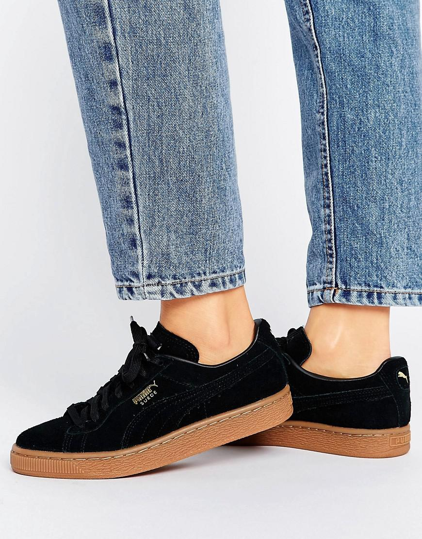 PUMA Black Suede Classic Trainers With Gum Sole - Lyst