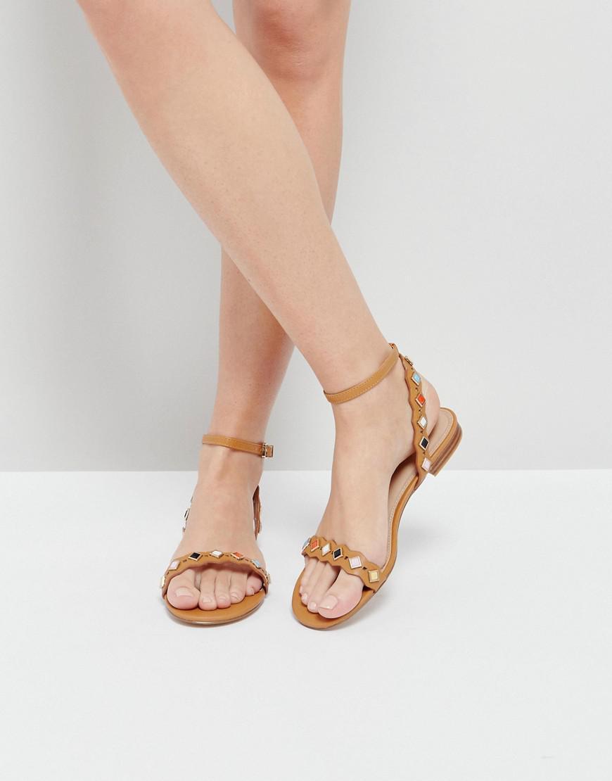 66ecc70dbec7 ALDO Amelie Tan Embellished Flat Sandals in Brown - Lyst