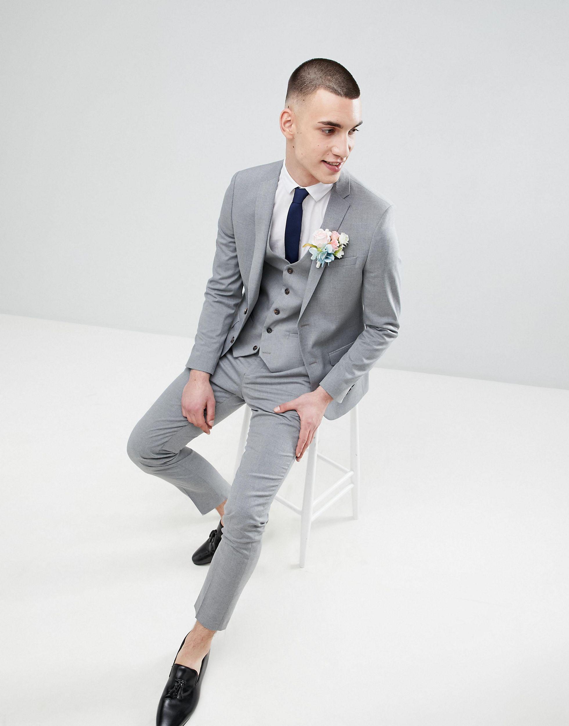 River Island Denim Wedding Skinny Fit Suit Jacket in Grey (Grey) for Men