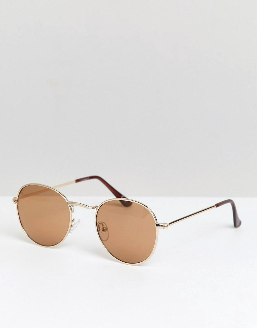 67fe5a5ca44d ASOS Metal Round Sunglasses In Gold With Nose Detail in Metallic for ...