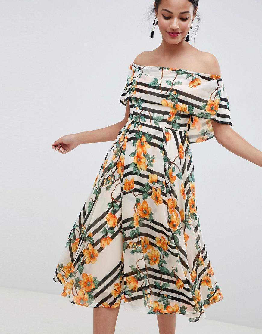 e14ae742dc80 ASOS. Women s Soft Bandeau Midi Dress In Stripe And Floral Print