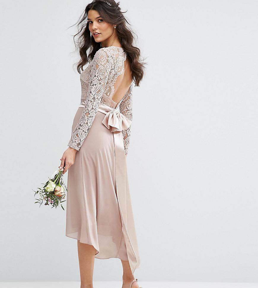 Lyst Tfnc London Lace Midi Bridesmaid Dress With Bow
