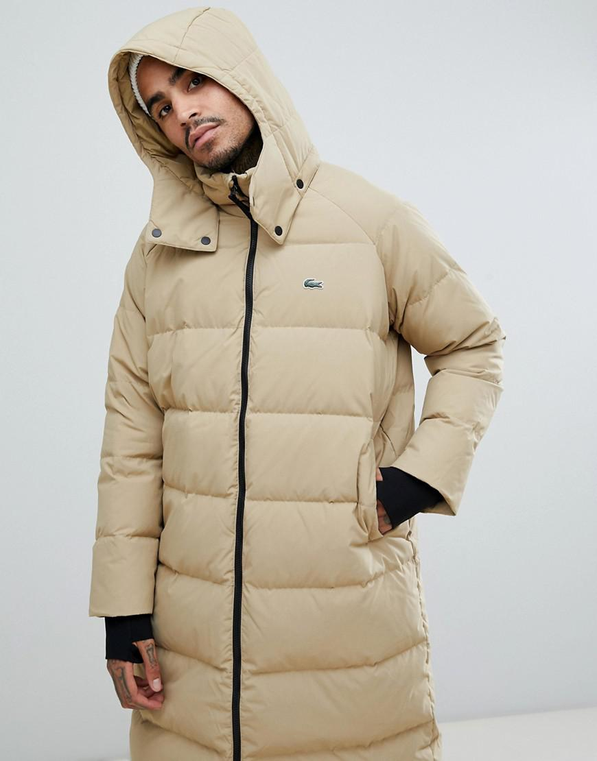 5501ad5f Lacoste L!ive Natural Lacoste L!ve Longline Puffer Coat In Sand for men
