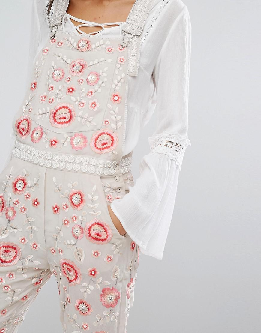 9915038186 Lyst - Needle   Thread Cherry Blossom Embroidered Dungarees - Rose ...