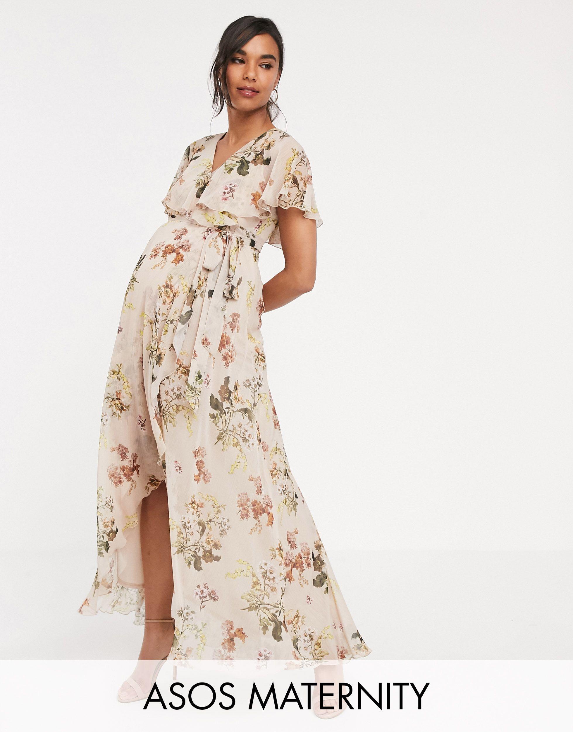 ASOS Synthetic Asos Design Maternity Cape Maxi Dress With Dip Hem ...