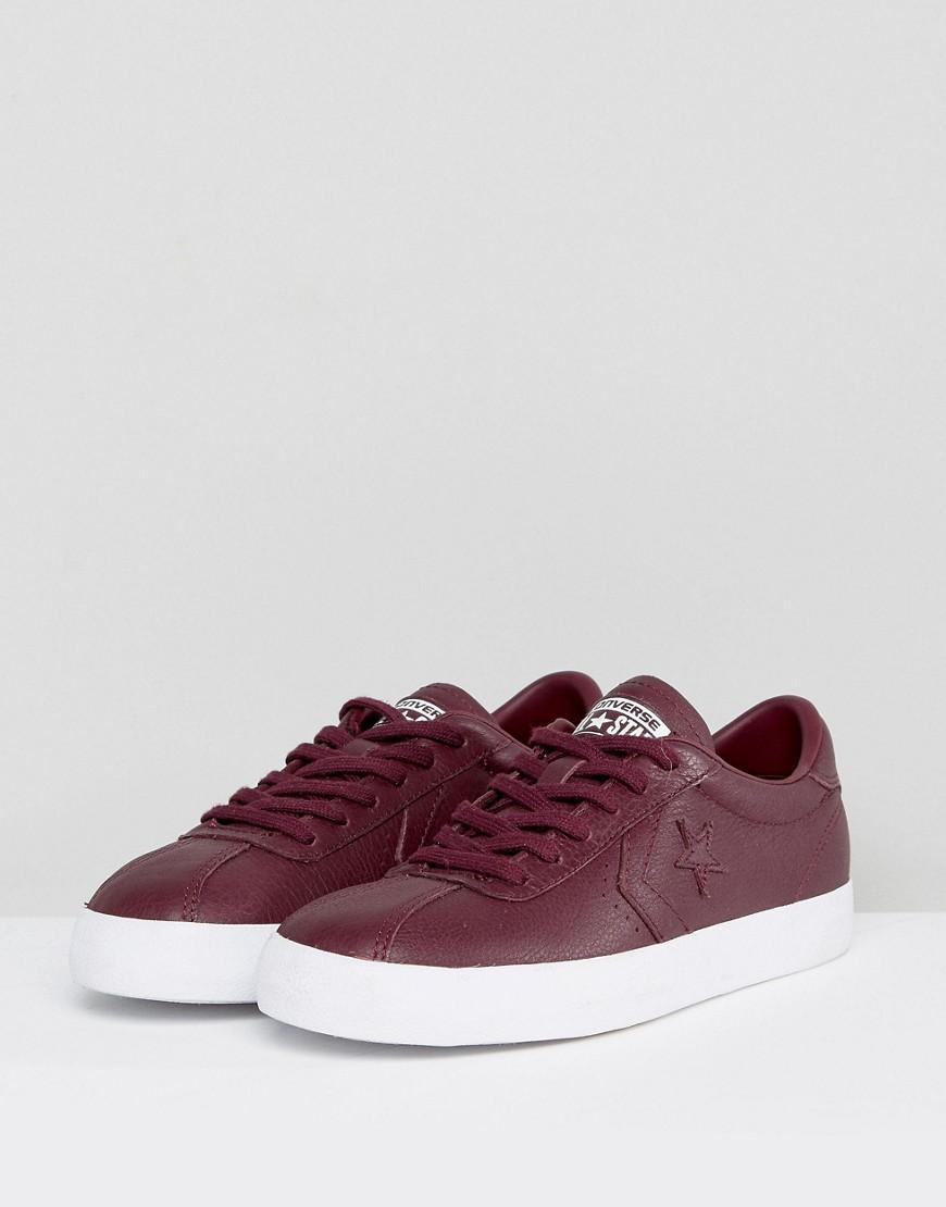 Converse Breakpoint Leather Trainers In Burgundy in Red