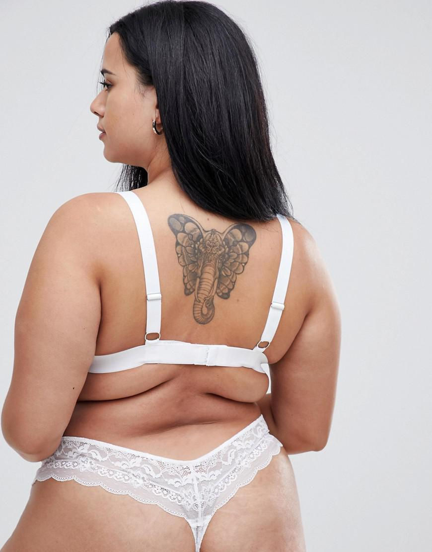 384c8df0c08 Lyst - ASOS Asos Design Curve Roxy Lace Triangle Bra in White