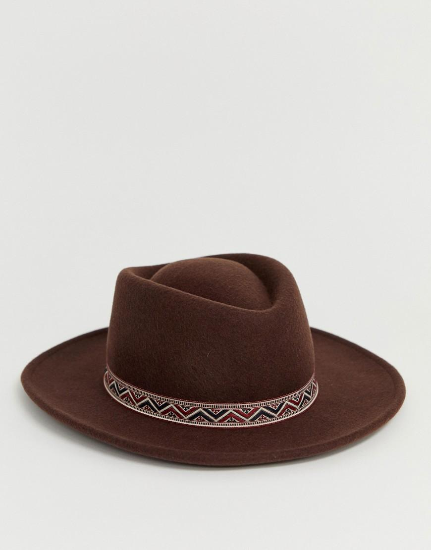 118d0a670e5f8 ASOS Wide Brim Pork Pie Hat In Brown With Geo- Band in Brown for Men - Lyst
