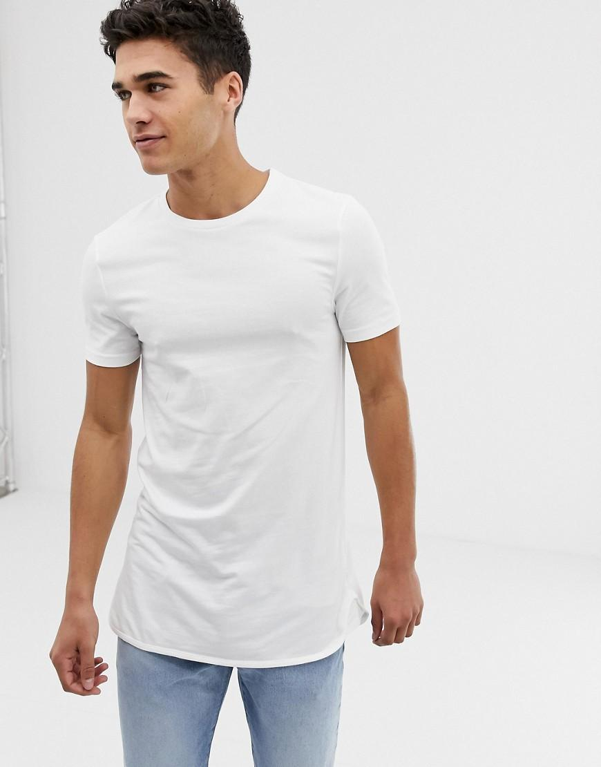 ac204552 ASOS Longline Muscle Fit T-shirt With Stretch And Bound Curved Hem ...