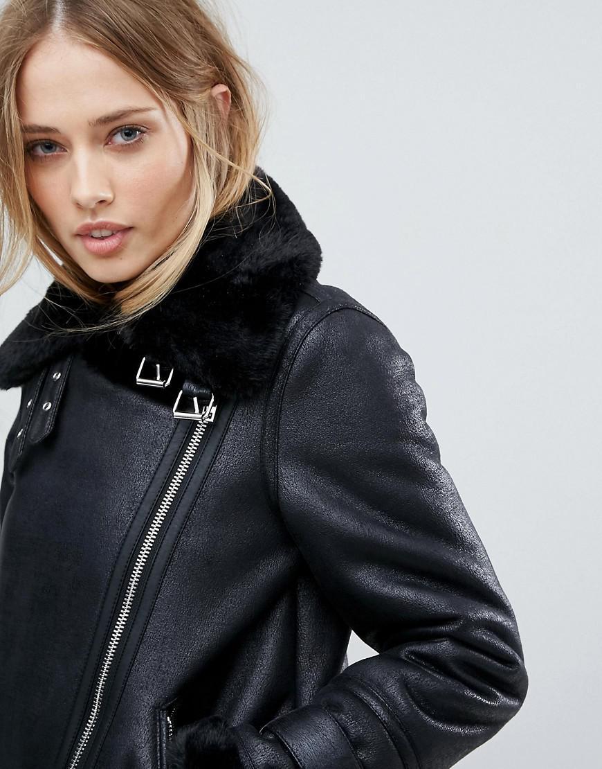 e96d82553 Warehouse Black Premium Aviator Jacket