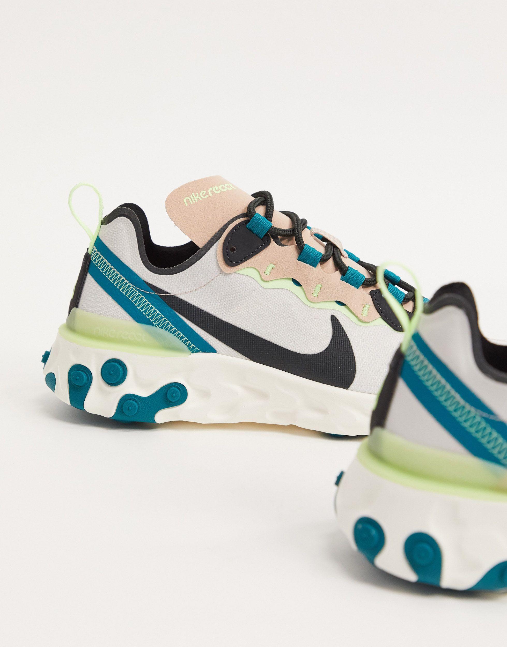 React Element 55 - Baskets - Taupe et vert fluo en Caoutchouc Nike ...