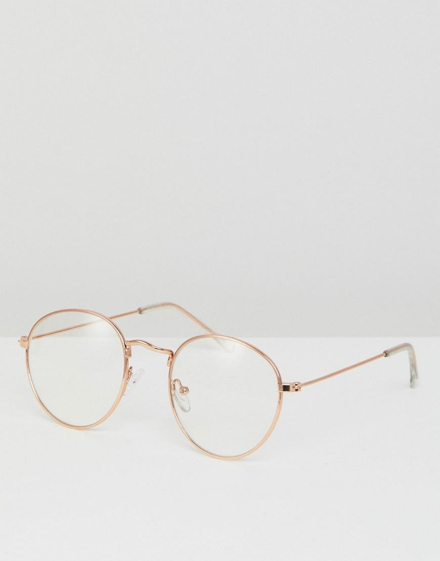 a335a661cd Lyst - ASOS Metal Round Glasses With Clear Lens In Gold in Metallic ...