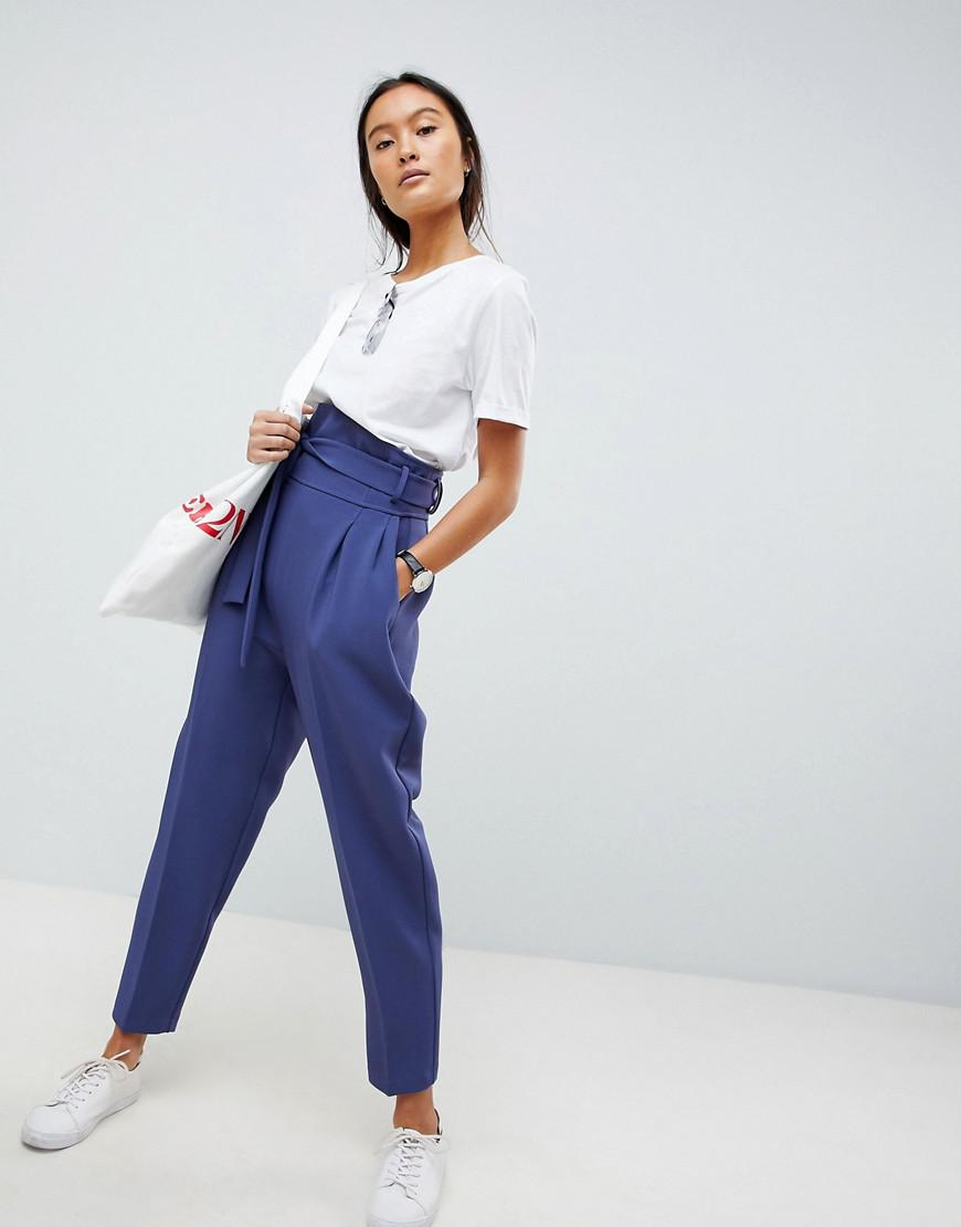 DESIGN high waist tapered trousers - Petrol Asos LWHZrBe8