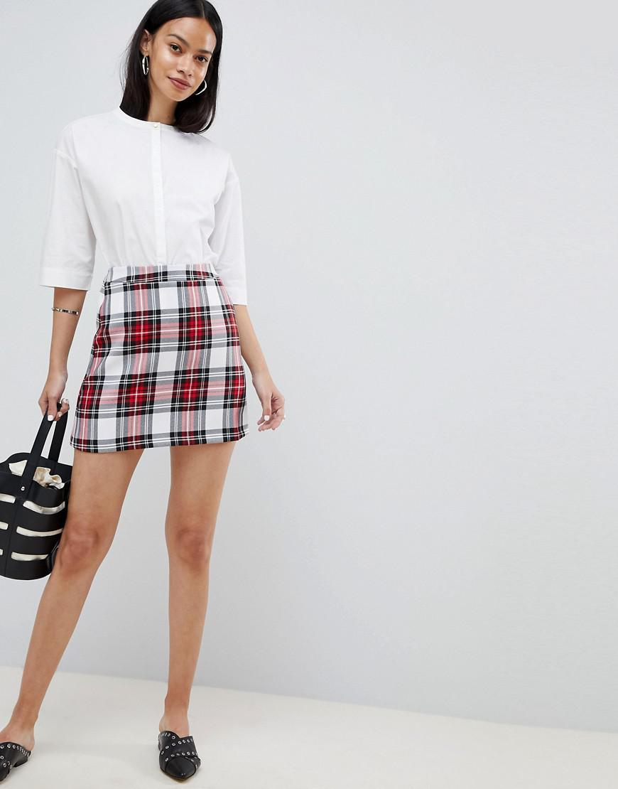 6d31ef79e5c869 Lyst - ASOS Tailored A-line Mini Skirt In Red Check in Red