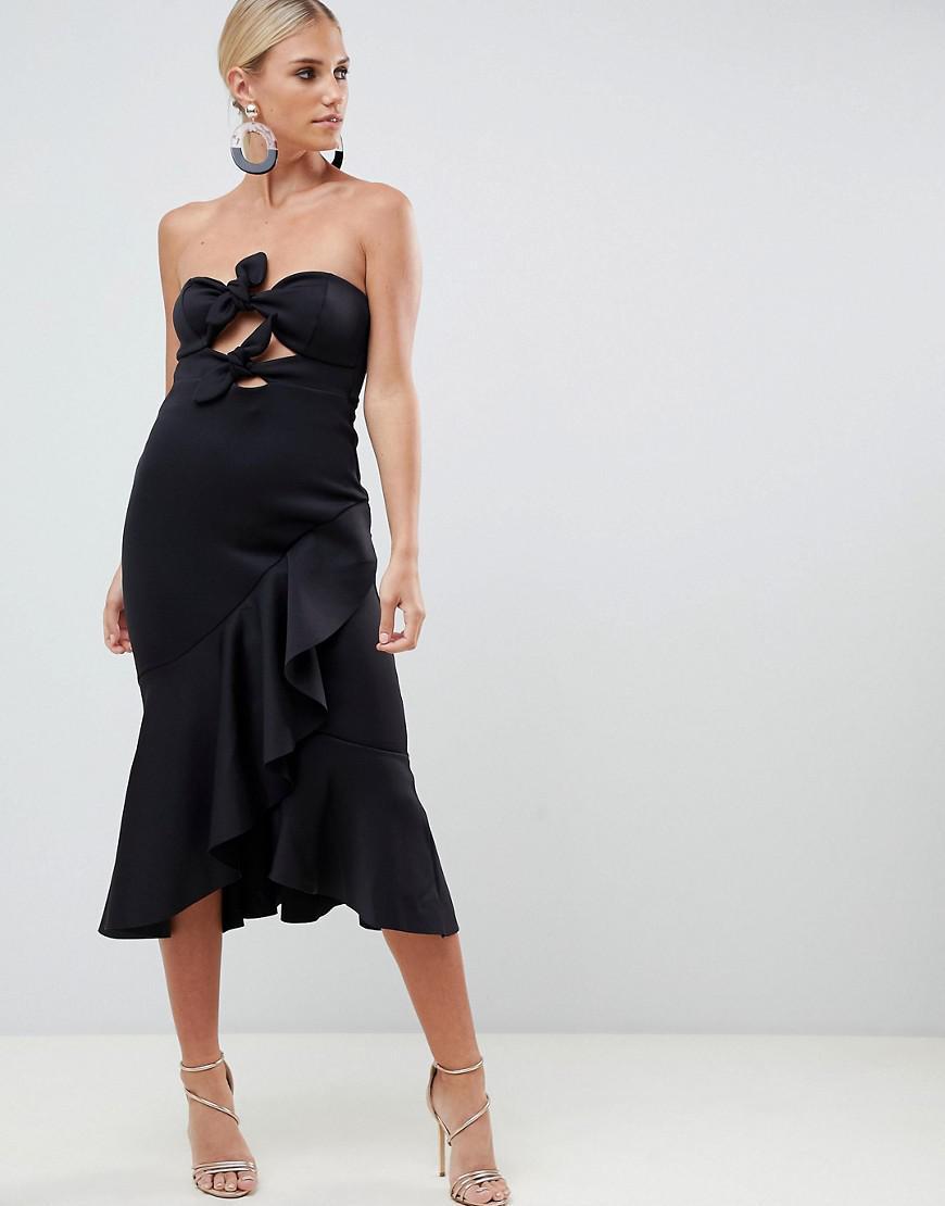 ebd106fc8ac2 ASOS Bandeau Knot Front Pephem Midi Dress in Black - Lyst
