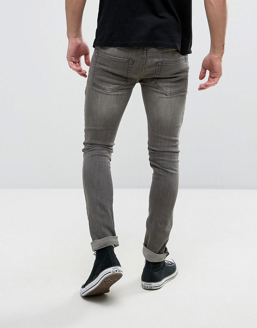 Religion Denim Jeans In Super Skinny Stretch Fit With Repair Work in Grey (Grey) for Men