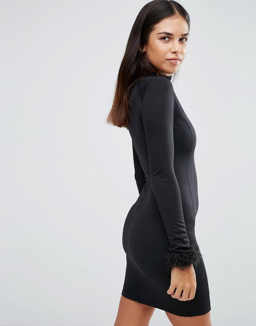 Ax paris black sequin high neck bodycon dress size