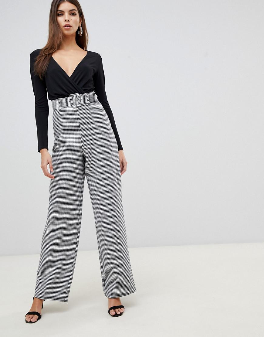 48b3443b328f Lipsy 2 In 1 Dogtooth Jumpsuit In Monochrome in Gray - Lyst