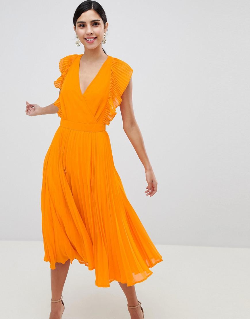 Plisse Asos Mi Volants Coloris Et Orange Dcoupes En Longue Robe kuiOPXZ